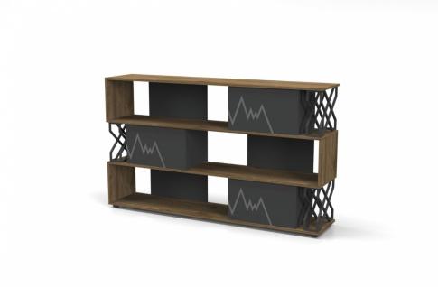 Design Büroregal Ritim in Holz Optik Grau