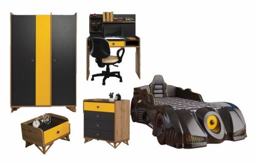 Kinderzimmer Set mit Autobett Black Dark 5-teilig