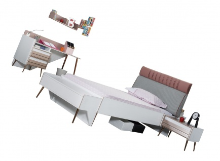Titi Kinderzimmer Rosi Set 4-teilig mit Bett 120x200 cm