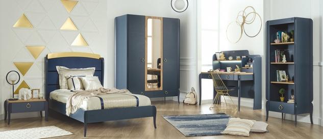 Jugendzimmer Set Elegant Blue 5-teilig