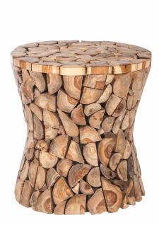 Hocker Romani mit Holzquerschnittdesign