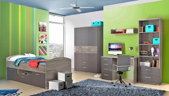 Jugendzimmer Komplett Set Jim 5-tlg Sonoma Eiche-Grau