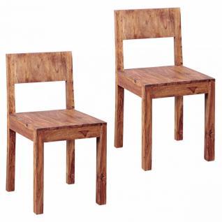 WOHNLING Esszimmerstühle 2er Set Massiv-Holz Sheesham Design Küchen-Stühle 40 x 40 cm Holzstühle braun Landhaus-Stil