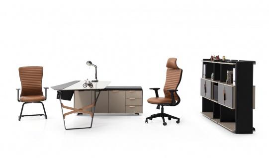 Ovali Schreibtisch Set 3-teilig Skyline Beige Rechts
