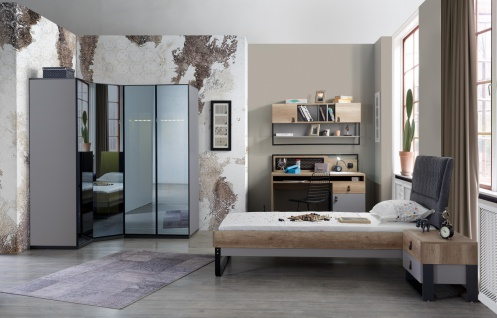 Jugendzimmer Set Corner 7-teilig mit Eckkleiderschrank