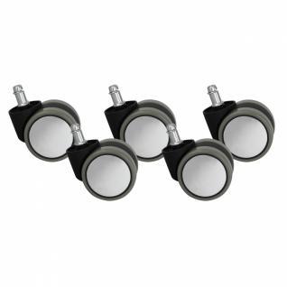 5er Set Rollen für Bürostuhl Bürostuhlrollen Silbern Grau PIN 11mm / Durchmesser 60 mm (Hartbodenrollen)