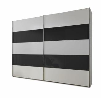 Schwebetürenschrank Genius in Weiß mit Schwarzem Glas 250 cm x 217 cm
