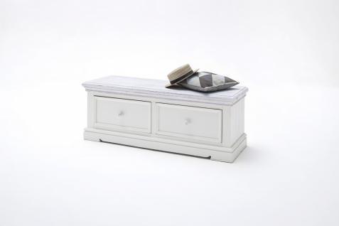 Sitzbank Olio mit 2 Schubkästen in Kiefer weiß massiv