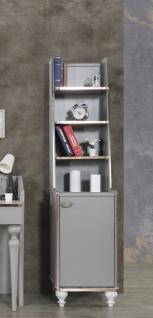 Bücherregal Gloria 4 Fächer und Schubfach in Grau