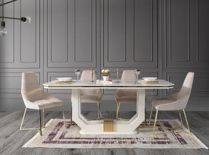 Lidya Tischgruppe Pianno mit 4 Stühlen in Weiß