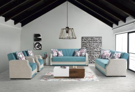 Sofa mit Schlaffunktion Couch Garnitur Blau Cizgi 3+2+1
