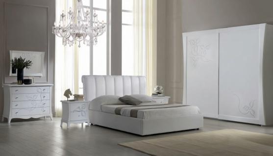 Schlafzimmer Set Jolie in Weiß/Silber 180x200 komplett