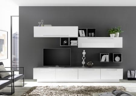 Wohnwand Veldig in Weiß Beton Optik 8-teilig