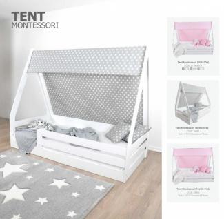 Almila Kinderbett Tenty 100x200 cm in Weiß/Grau