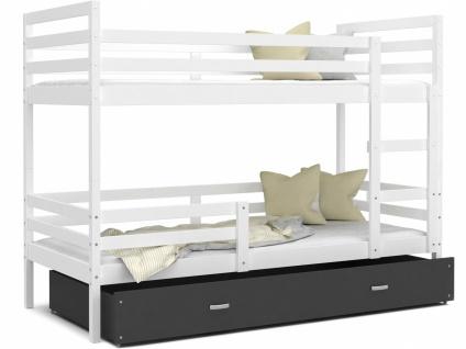 Etagenbett mit Bettkasten Weiß Grau Rico 80x190