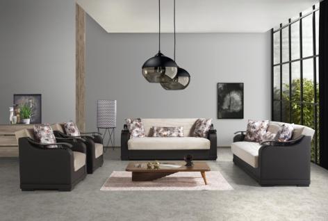 Couch Set mit Schlaffunktion Beige Schwarz Yildiz 3+2+1
