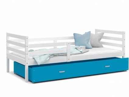 Kinderbett mit Bettkasten Weiß Blau Rico 90x200