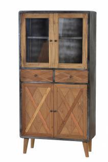 Vitrine Krysse mit 4 Türen aus recyceltem Teakholz