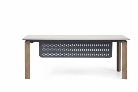 Ovali Schreibtisch 3-beinig Twist L3 Holzoptik 200x90x75