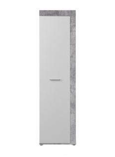 Garderobenschrank Zeus in Betonoptik Lichtgrau / Weiß