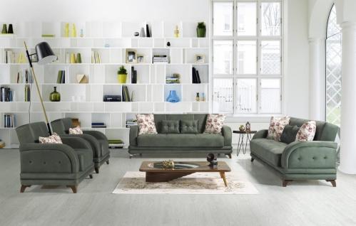 Couch Sofa Garnitur mit Schlaffunktion Grün Asya 3+2+1