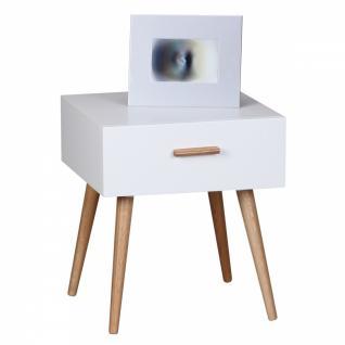 Retro Nachttisch Weiß Matt SCANIO mit Schublade - Füße Eiche