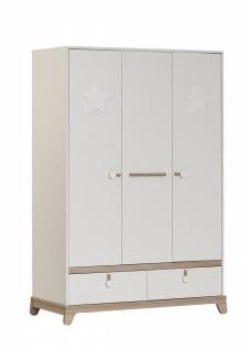 Baby Kleiderschrank in Weiß Star Stern 3-türig