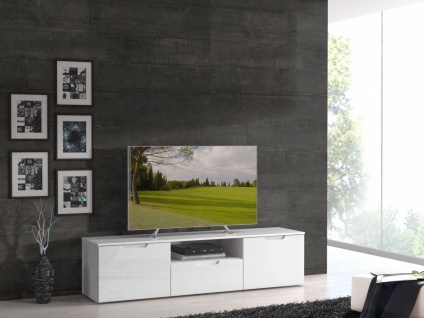 TV-Lowboard Selina in Weiß Hochglanz