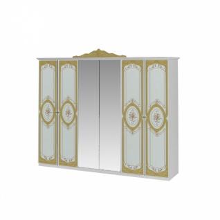 Kleiderschrank Barock Stil Julianna 6-türig in Weiß Gold