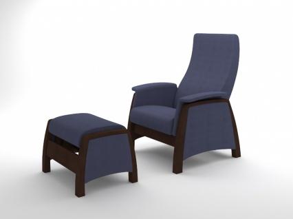 Sessel Gleitfunktion mit Hocker Balance Walnuss Blau
