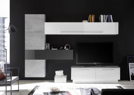 Wohnwand Set Veldig 7-teilig in Weiß Hochglanz Grau