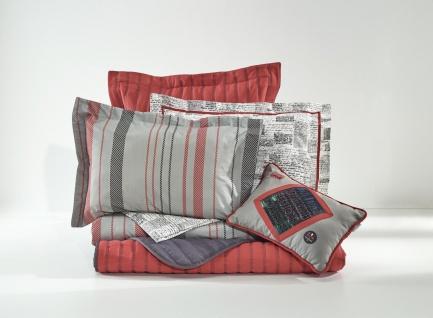 Almila Bettwäsche Set Irony 7-teilig in Rot und Grau