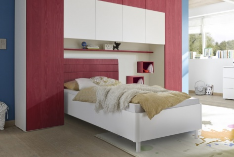 Design Jugendbett Space Kopfteil Rot 180x200