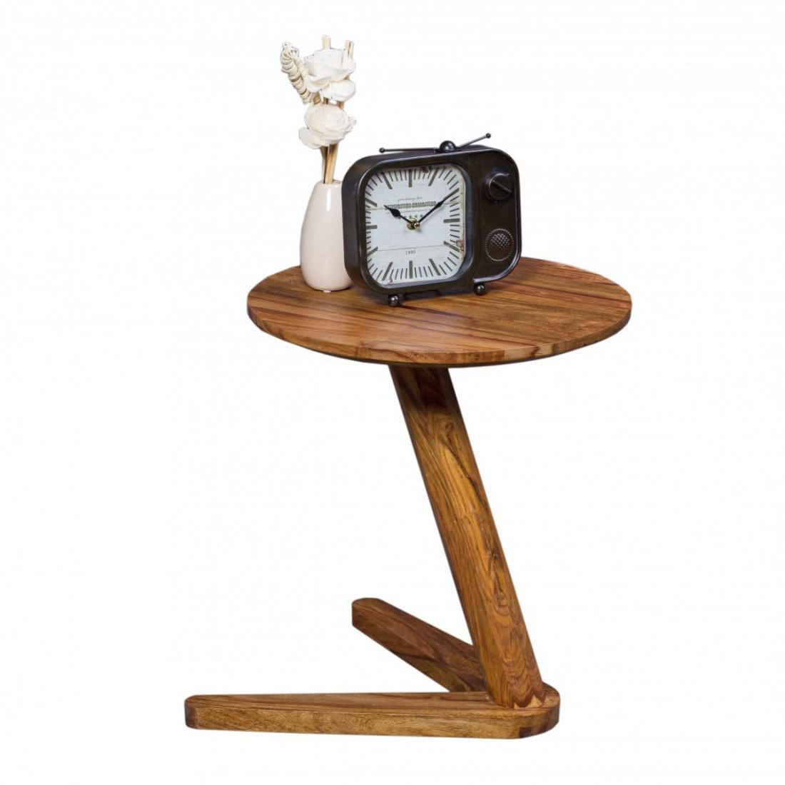 Wohnling Beistelltisch Massivholz Sheesham Design Wohnzimmer Tisch 45 X 45cm Rund Nachttisch Natur Holz Landhaus Stil