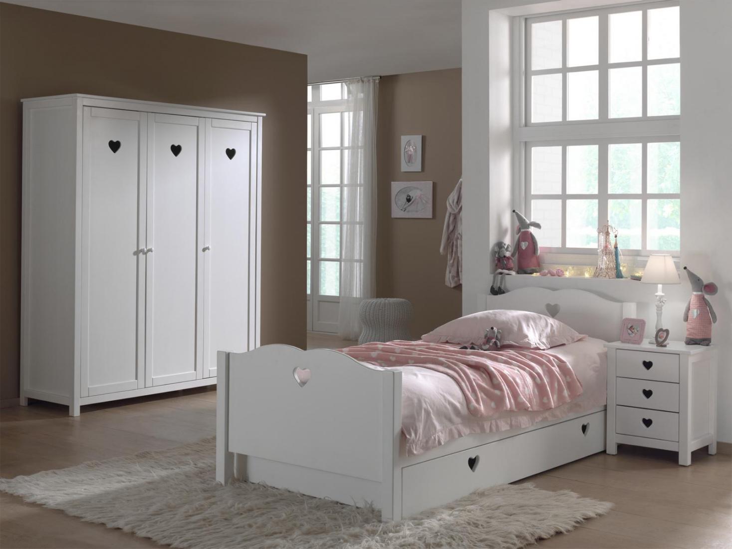 Jugendzimmer komplett weiß  Jugendzimmer komplett Albin 4- teilig in Weiß MDF - Kaufen bei Möbel-Lux