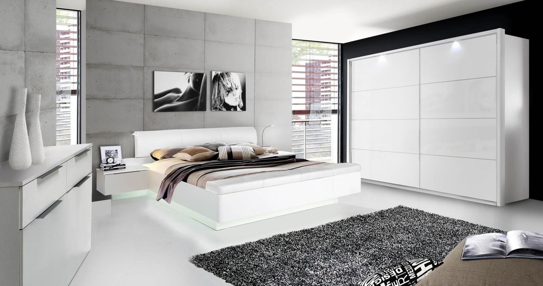 Schlafzimmer komplett Weiß Hochglanz Story 170cm - Kaufen bei Möbel-Lux