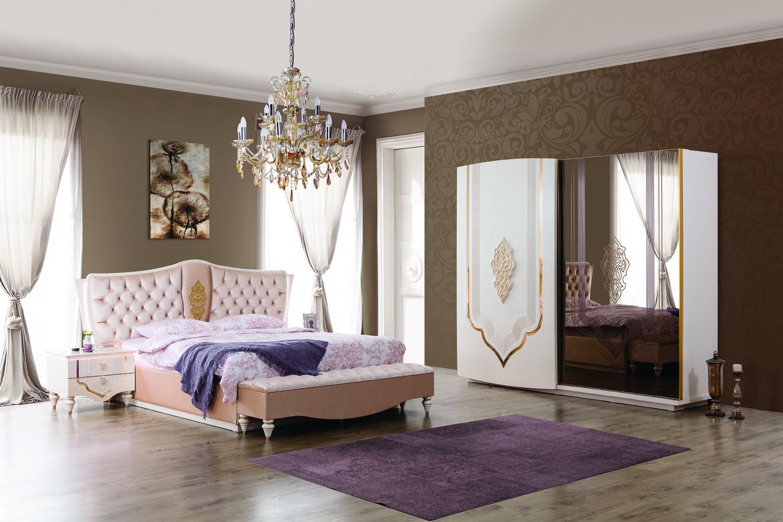Barock Schlafzimmer Weiß / Gold Annelore 5-tlg - Kaufen bei Möbel-Lux