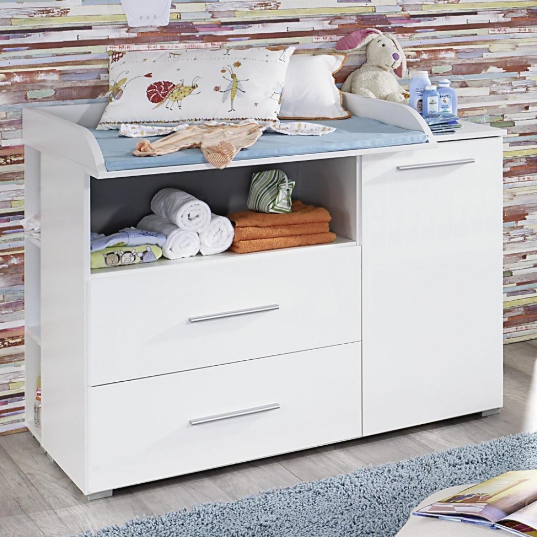 wickelkommode manja mit regal hochglanz wei alpinwei kaufen bei m bel lux. Black Bedroom Furniture Sets. Home Design Ideas