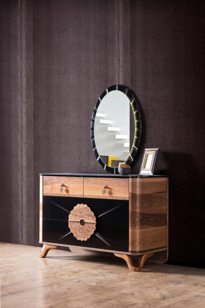 Schlafzimmer Kommode Sabrina in Schwarz / Braun - Kaufen bei Möbel-Lux