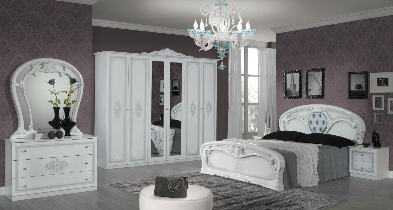 Barock Schlafzimmer Weiß Cristal mit 6-türigem Schrank