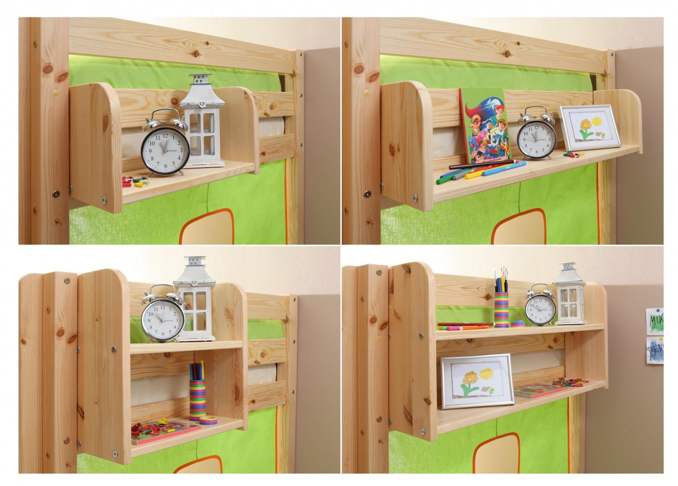 Etagenbetten Kinder : Kinder etagenbett kiefer massiv timo inklusive vorhang kaufen bei