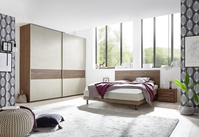 Schlafzimmer in Natur Nussbaum dunkel Luana   Kaufen bei Möbel Lux