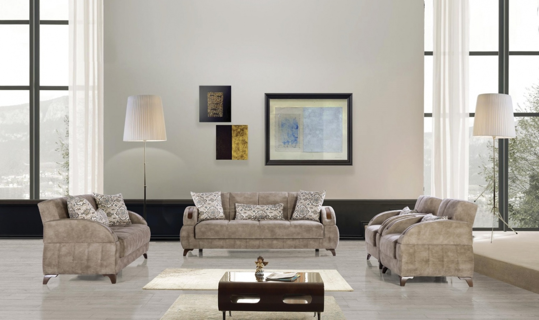 Sofa Garnitur Mit Schlaffunktion In Hellgrau Diva 321 Kaufen Bei
