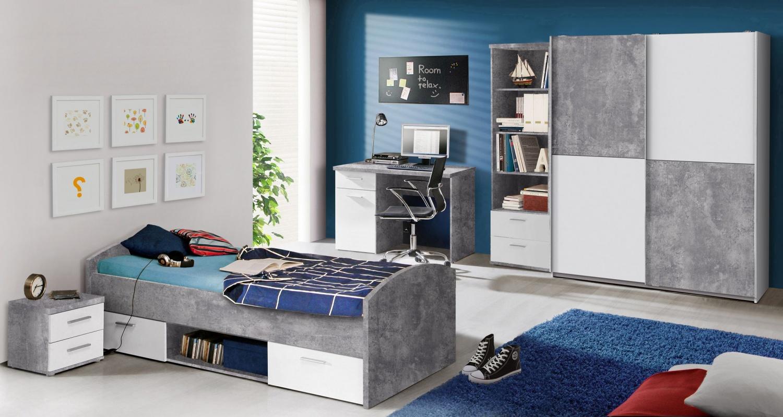 jugendzimmer weiß beton optik jesper 5-teilig - kaufen bei möbel-lux