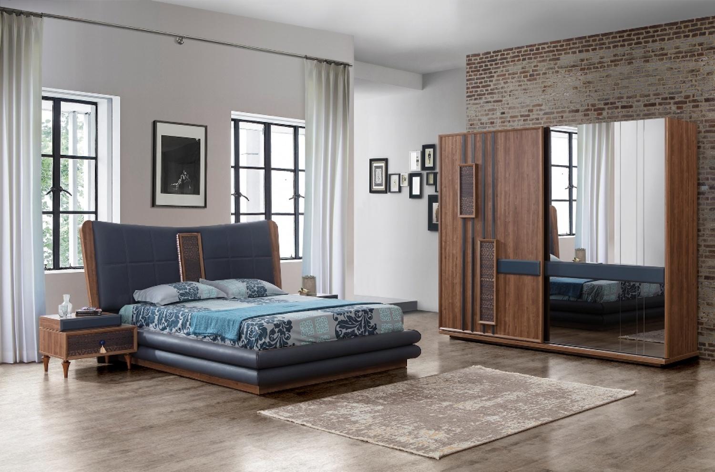 Schlafzimmer Komplett Danny 4 Teilig In Blau / Braun 1 ...