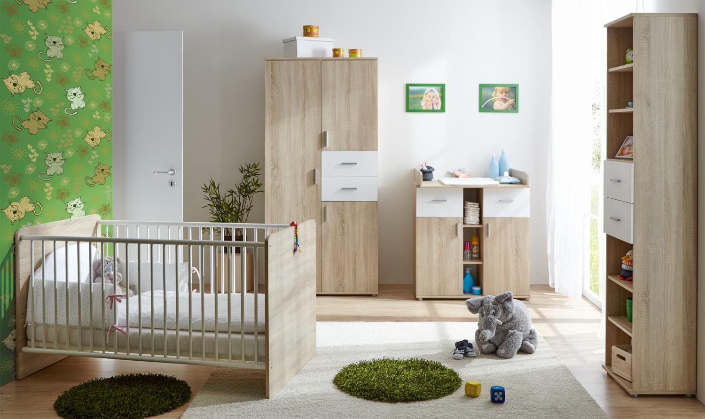 Babyzimmer möbel  Babyzimmer Möbel Set 4-teilig Estella Sonoma Weiß - Kaufen bei Möbel-Lux