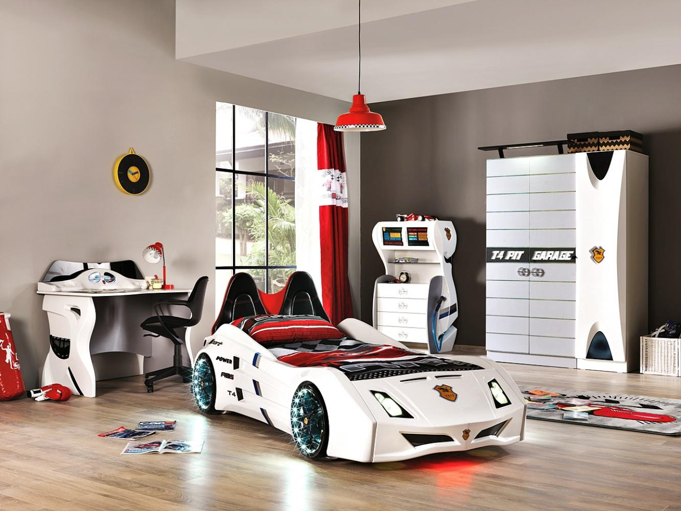 autobett kinderzimmer cat garage car wei schwarz kaufen bei m bel lux. Black Bedroom Furniture Sets. Home Design Ideas