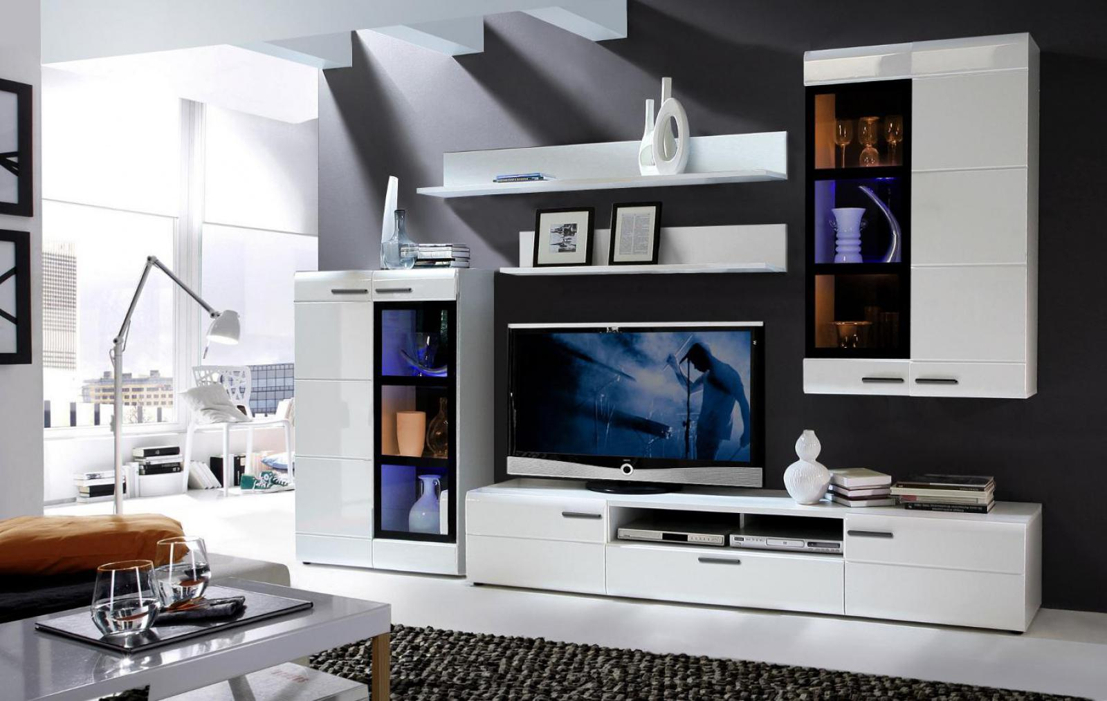 wohnwand lotte 5 teilig in uni wei schwarz hochglanz mdf kaufen bei m bel lux. Black Bedroom Furniture Sets. Home Design Ideas