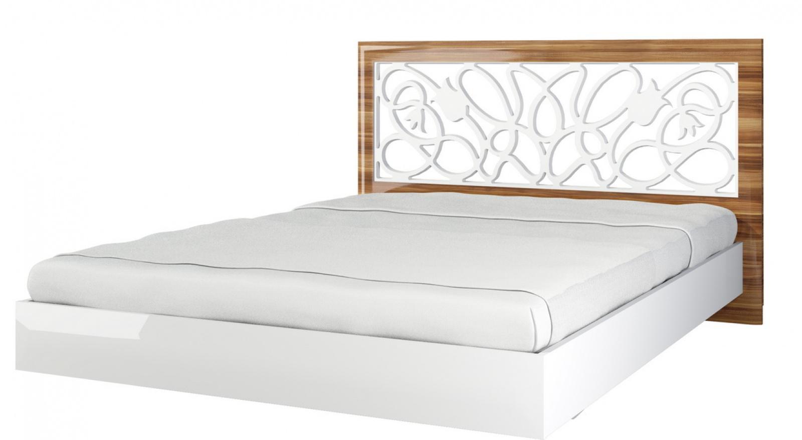 Lotus Bett 160x200 mit Blumen Dekor Weiß Hochglanz - Kaufen bei ...