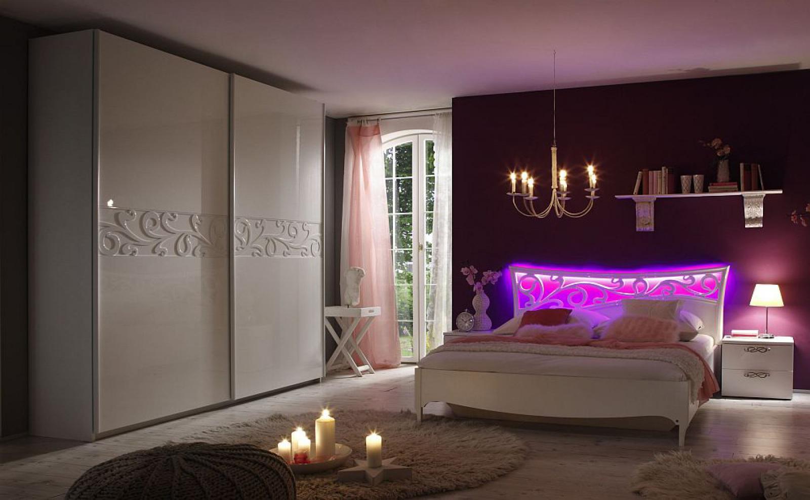 Schlafzimmer Set Sonja 4-teilig Hochglanz Weiß lackiert - Kaufen bei ...